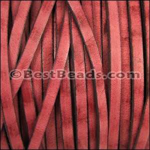 5mm flat VINTAGE leather RED - per 5 meters
