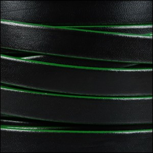 10mm flat leather BLACK with GREEN - per 20m SPOOL
