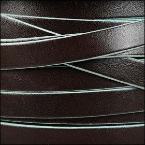 10mm flat leather BROWN with TURQUOISE - per 20m SPOOL