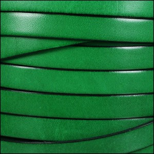 10mm flat leather BRIGHT GREEN - per 2 meters