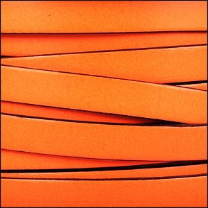 10mm flat leather NEON ORANGE - per 2 meters