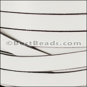 10mm flat leather WHITE WITH BLACK- per 20m SPOOL