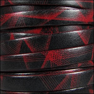 10mm flat ITALIAN PRINTED leather RED LASER - per 2 meters
