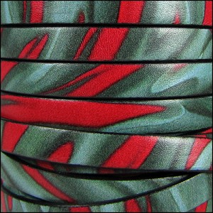 10mm flat ITALIAN PRINTED leather JUNGLE - per 20m SPOOL