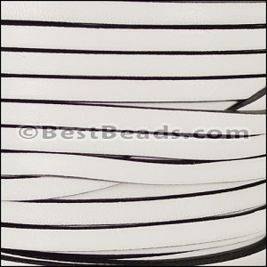 5mm flat leather WHITE WITH BLACK- per 5 meters