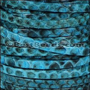 5mm flat PYTHON leather TURQUOISE- per 1 meter