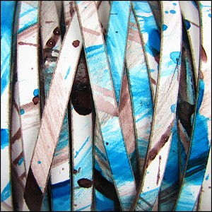 5mm flat MULTI COLOR leather TURQUOISE BRONZE - per 20m SPOOL