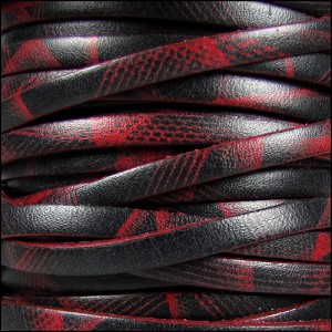 5mm flat ITALIAN PRINTED leather RED LASER - per 20m SPOOL