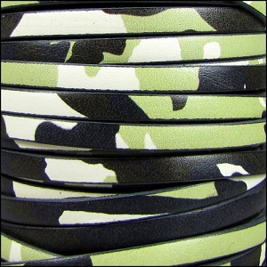 5mm flat ITALIAN PRINTED leather NAVY CAMO - per 20m SPOOL