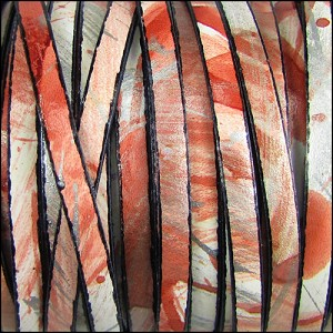 5mm flat MULTI COLOR leather CORAL SILVER - per 5 meters