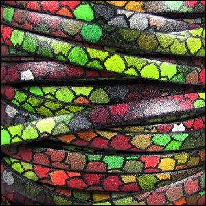 5mm flat ITALIAN PRINTED leather RAINBOW SCALES - per 20m SPOOL