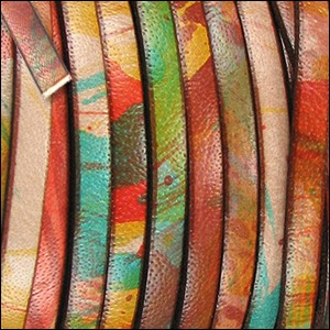 5mm flat MULTI COLOR leather RED ORANGE YELLOW - per 5 meters