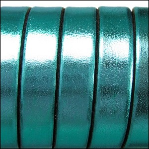 10mm flat ELECTRIC METALLIC leather TURQUOISE - per 2 meters