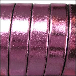 5mm flat ELECTRIC METALLIC leather ROSE - per 5 meters