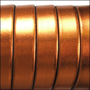 10mm flat ELECTRIC METALLIC leather COPPER - per 20m SPOOL