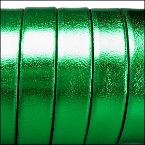 5mm flat ELECTRIC METALLIC leather GREEN - per 20m SPOOL