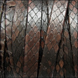 10mm flat PYTHON leather DARK BROWN - per 1 meter
