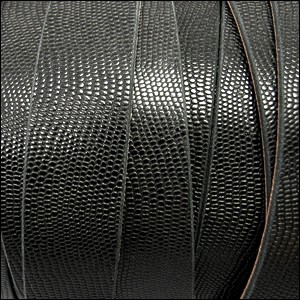 20mm flat TEXTURED leather BLACK - per 2 meters