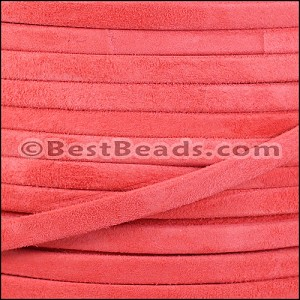 5mm flat GOAT SUEDE leather CORAL - per 20m SPOOL