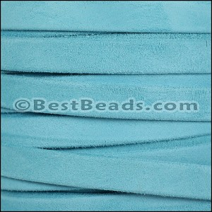10mm flat GOAT SUEDE leather LIGHT BLUE - per 20m SPOOL