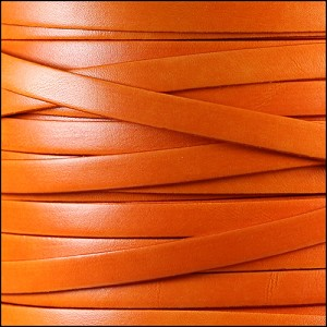 10mm flat ITALIAN DOLCE leather TANGERINE - per 2 meters