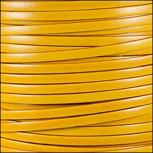 5mm flat ITALIAN DOLCE leather BUTTERCUP - per 20m SPOOL