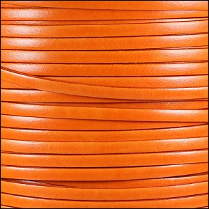 5mm flat ITALIAN DOLCE leather TANGERINE - per 5 meters
