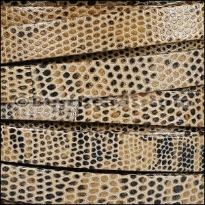 10mm flat LIZARD PRINT leather TAUPE - per 2 meters