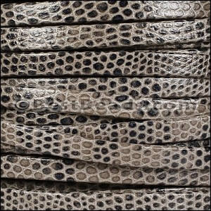 5mm flat LIZARD PRINT leather GREY - per 5 meters