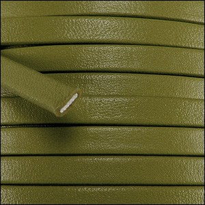 10mm flat PREMIER leather OLIVE GREEN - per 20m spool