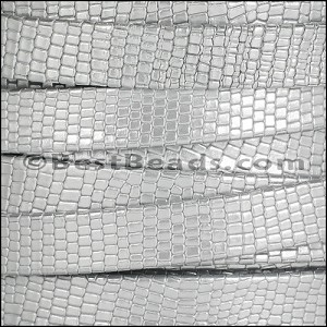 10mm flat GRECO leather SILVER - per 2 meters