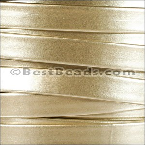 10mm flat MATTE PEARL leather GOLD - per 2 meters