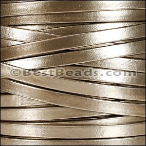 5mm flat MATTE PEARL leather LT BRONZE - per 5 meters