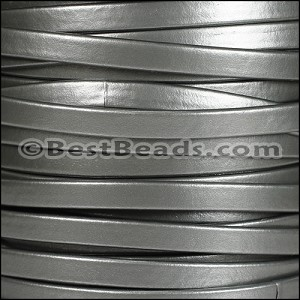 5mm flat MATTE PEARL leather GREY - per 20m SPOOL