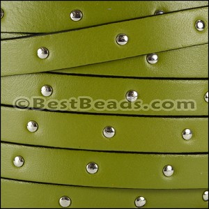 10mm flat STUDDED leather OLIVE GREEN - per 2 meters