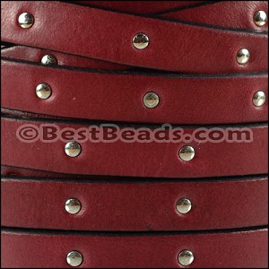 10mm flat STUDDED leather PLUM - per 20m SPOOL