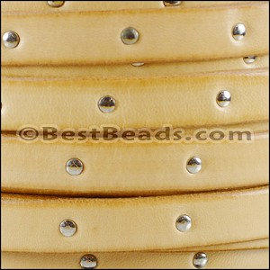 10mm flat STUDDED leather NATURAL - per 20m SPOOL