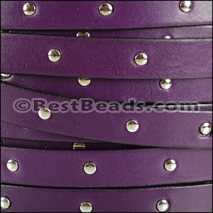 10mm flat STUDDED leather DEEP PURPLE - per 20m SPOOL