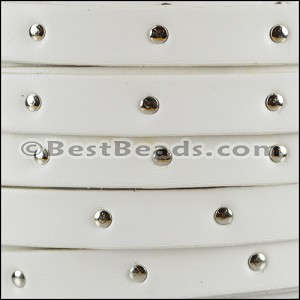 10mm flat STUDDED leather WHITE - per 2 meters
