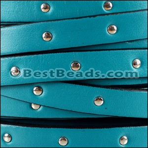 10mm flat STUDDED leather TURQUOISE - per 2 meters