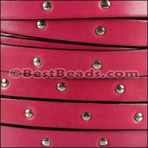 10mm flat STUDDED leather FUCHSIA - per 2 meters