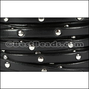 5mm flat STUDDED leather BLACK - per 20m SPOOL
