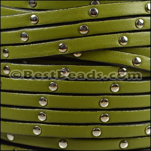5mm flat STUDDED leather OLIVE GREEN - per 5 meters