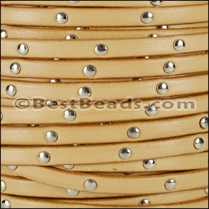 5mm flat STUDDED leather NATURAL - per 20m SPOOL