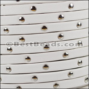5mm flat STUDDED leather WHITE - per 5 meters
