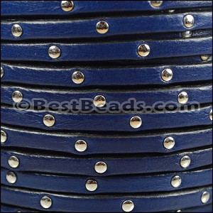 5mm flat STUDDED leather ELECTRIC BLUE - per 5 meters