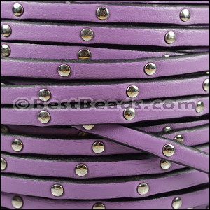 5mm flat STUDDED leather LILAC - per 5 meters