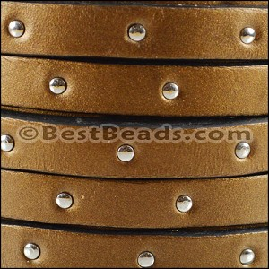 10mm flat STUDDED leather METALLIC BROWN - per 2 meters