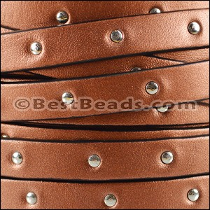 10mm flat STUDDED leather METALLIC ANT. COPPER - per 20m SPOOL
