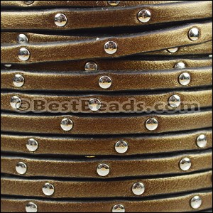 5mm flat STUDDED leather METALLIC BROWN - per 5 meters